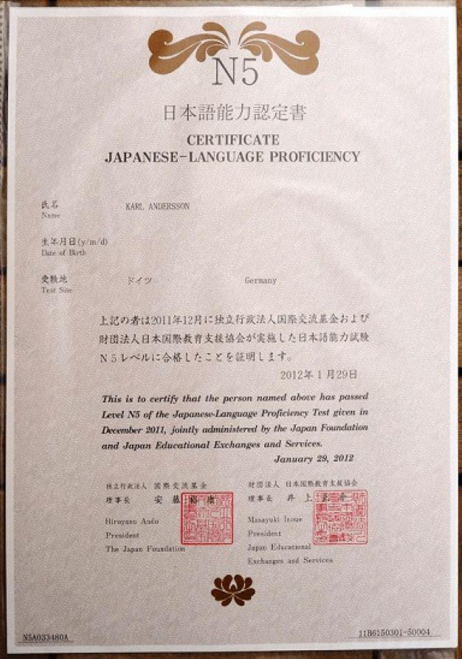 chứng chỉ tiếng Nhật N5